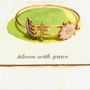 Gold bracelet pink flower, cross &feather charms